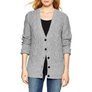 Gap Gray Cable Knit Button Front Cardigan XS